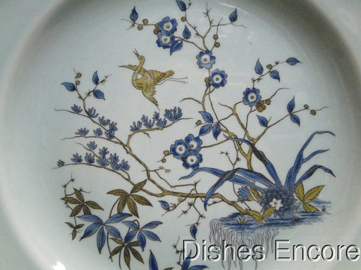 Adams Ming Toi, Blue Band and Flowers, Tan: Dinner Plate (s) 10 1/4""