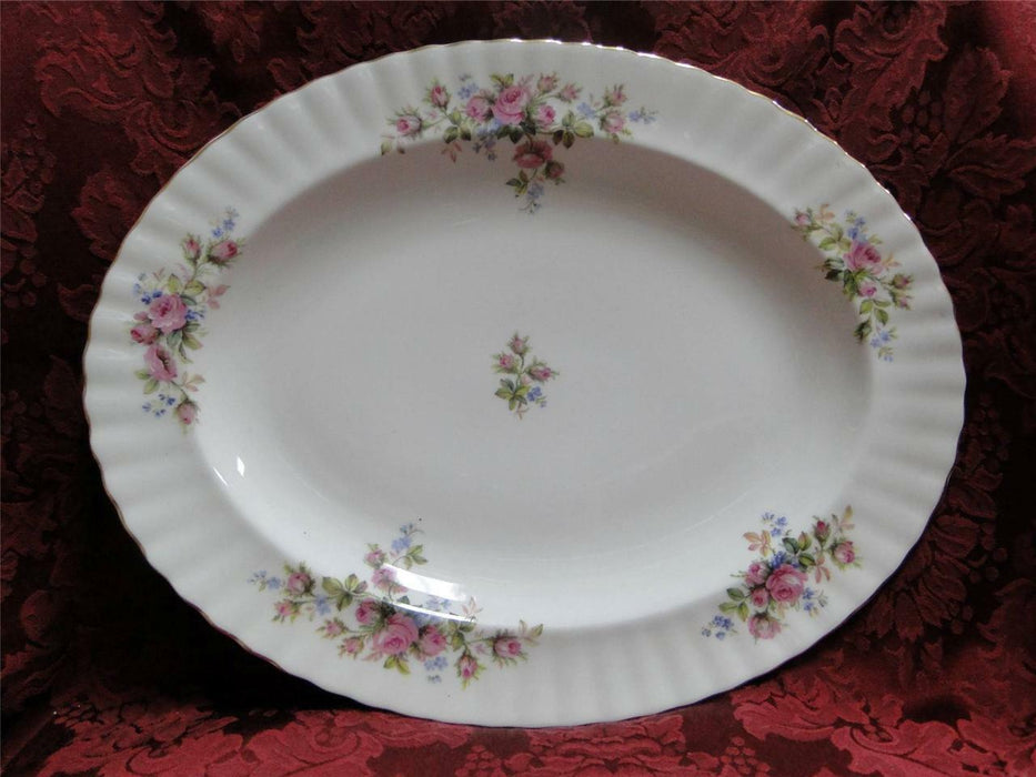 "Royal Albert Moss Rose, Pink Blue, Flowers: Platter, 13 1/2"" x 10 3/4"""