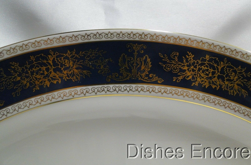 Wedgwood Columbia Blue & Gold, Dragons, Flowers: Oval Serving Platter, 15 1/2""