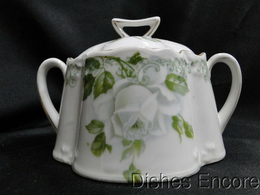 Zeh, Scherzer & Co (ZS&C) White Rose & Green Leaves: Sugar Bowl & Lid -- As Is