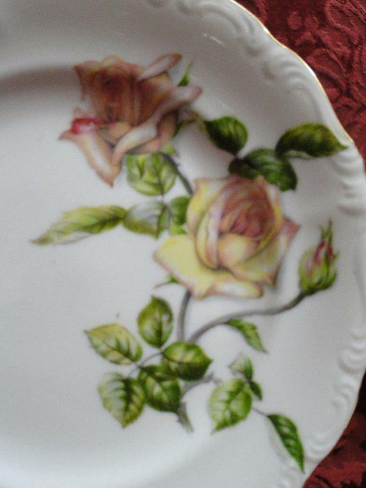 Ucagco Yellow Roses, Green Leaves, Embossed: Salad Plate (s), 7 3/8""