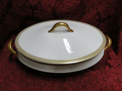 Haviland Schleiger 629 Green/Gold/Red: Oval Covered Vegetable Serving Bowl
