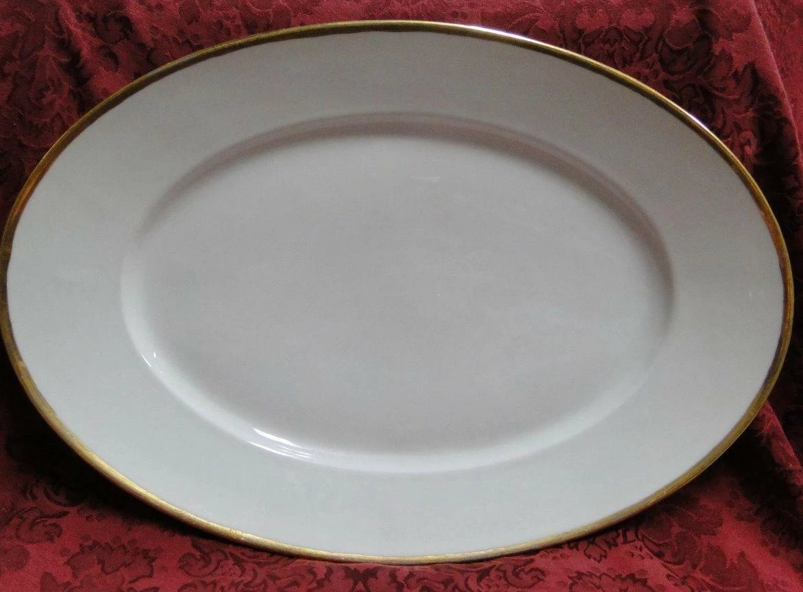 "Carl Tielsch & Co, Altwasser, White w/ Gold Trim: Platter, 17 1/8"" x 11 3/4"""