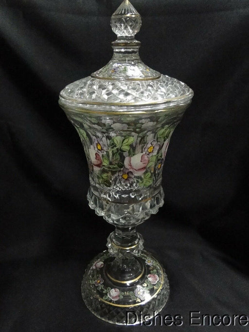 "Handpainted Glass Floral w/ Gold Trim Urn / Candy Jar w/ Lid 12 1/2"" AS IS"