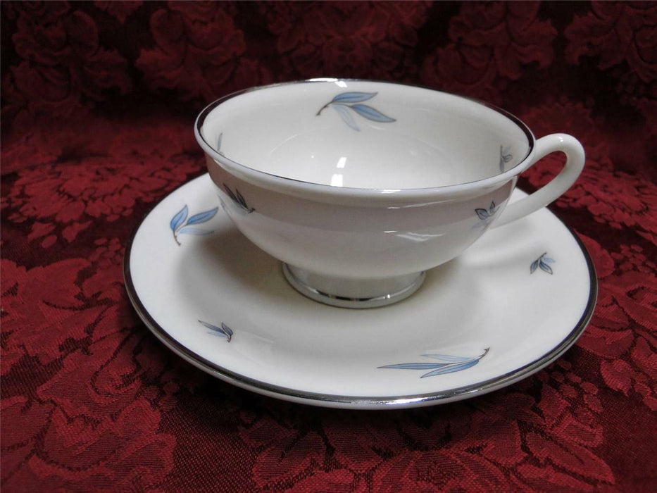 Syracuse Celeste, Blue Leaves on Rim, Platinum: Cup & Saucer Set (s)