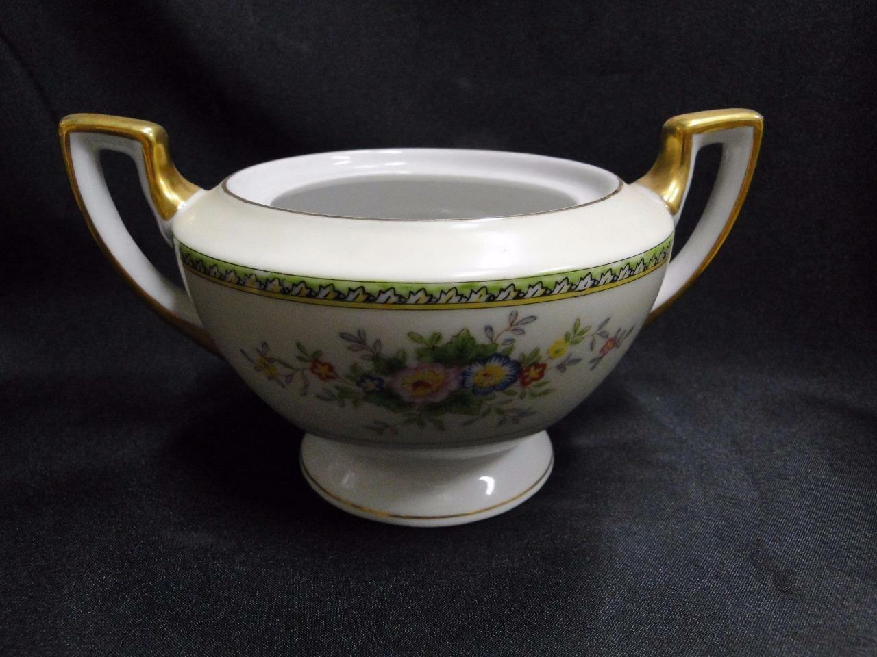 Meito Floral with Green Trim, Gold Edge: Sugar Bowl Only, No Lid 3""