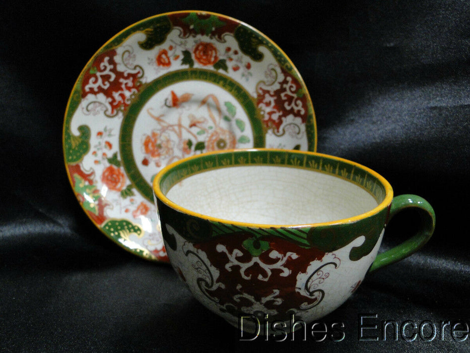Mason's B9913 Red, Green, Coral, Gold: Cup / Saucer Set (s), Crazed