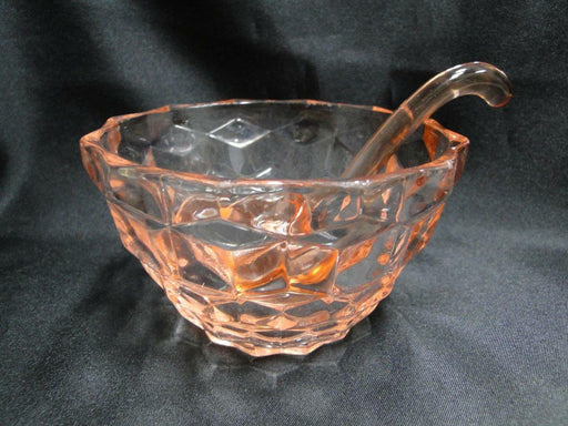 Pink Depression Glass Bowl with Ladle AS IS 4 1/2""