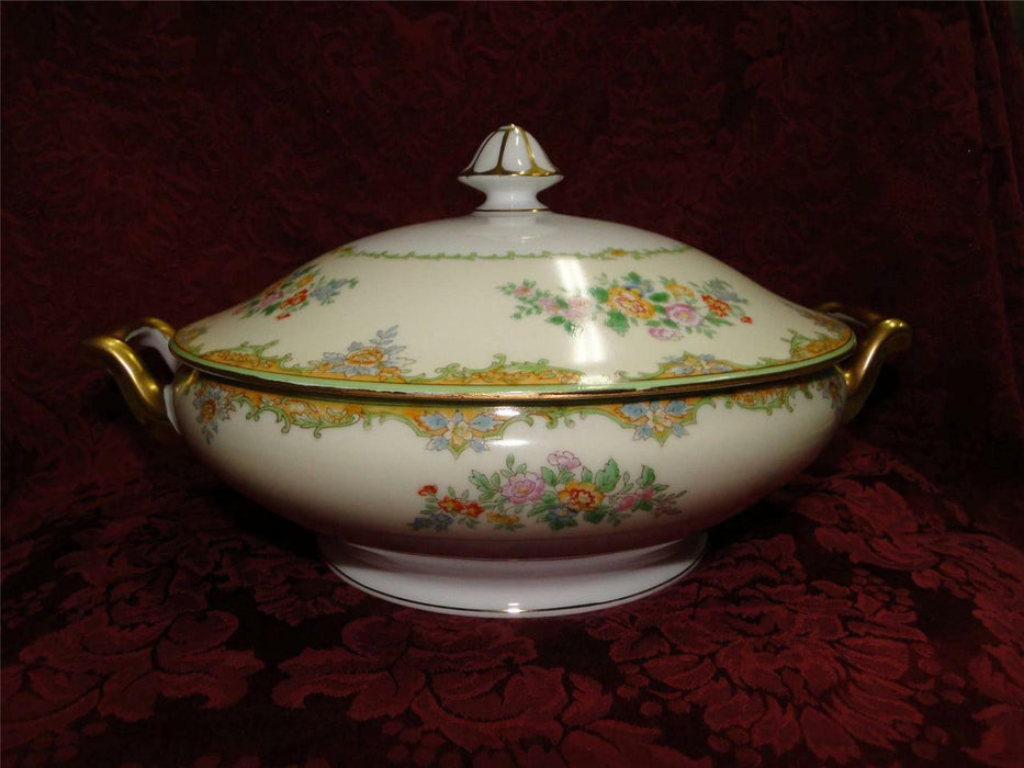"Noritake Multicolored Floral w/ Green & Tan Edge: Covered Casserole, 8"", As Is"