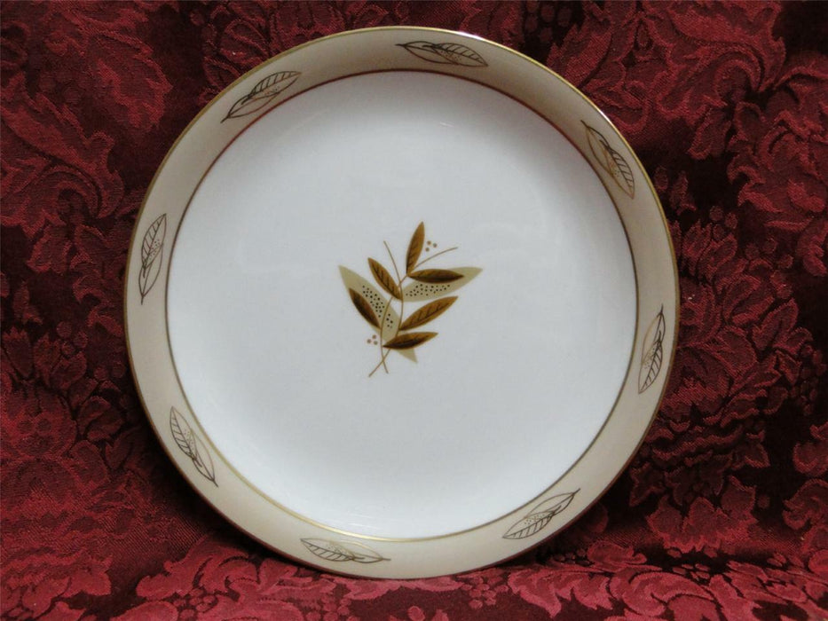 Noritake Fontana, 5580, Taupe Band, Gold Leaves: Salad Plate (s), 8""