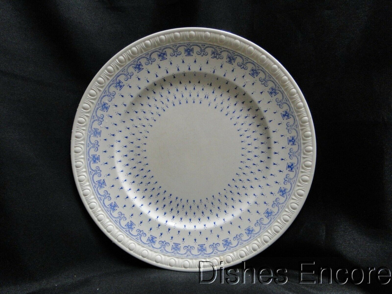"Spode Ermine Blue, Geometric Design: Luncheon Plate, 9 3/8"", Crazing Lt Discolor"