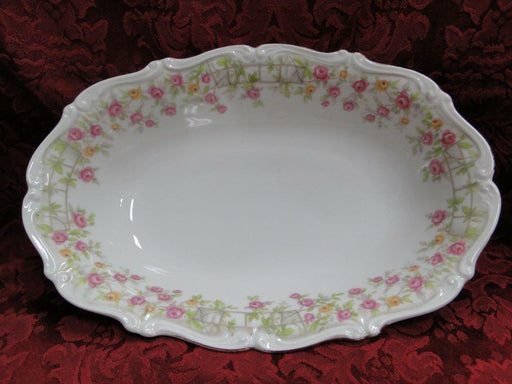 Amcrest Bavaria, Country Garden, Pink /Yellow Roses, Gold: Oval Serving Bowl