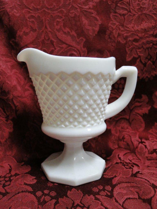 Westmoreland English Hobnail Milk Glass, Squares: Footed Creamer, Hexagonal Base
