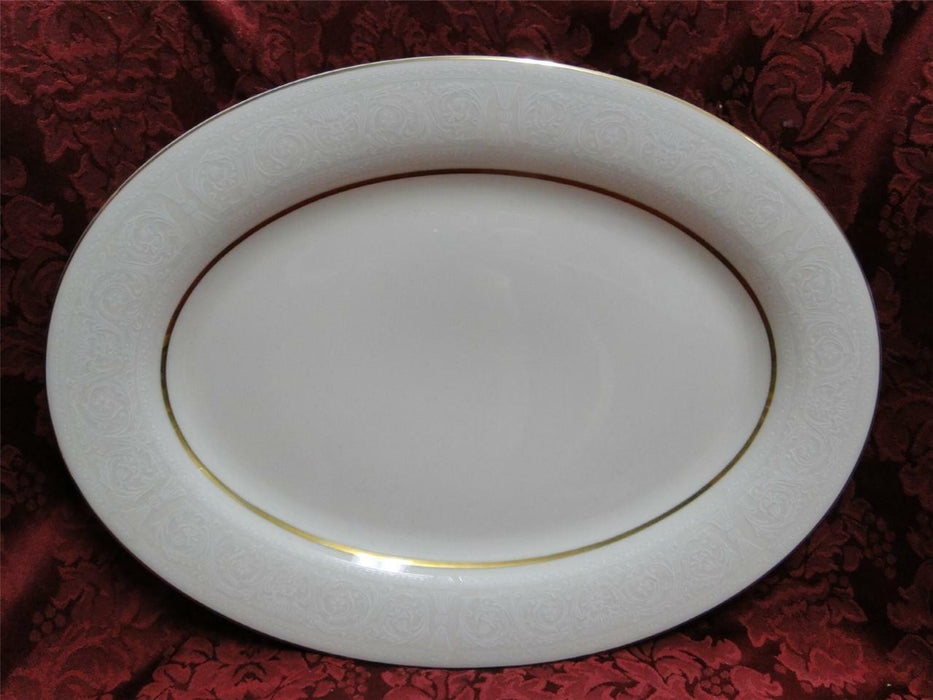 Sheffield Sonata 606: White Scrolls on Cream w/ Gold Trim: Serving Platter, 14""
