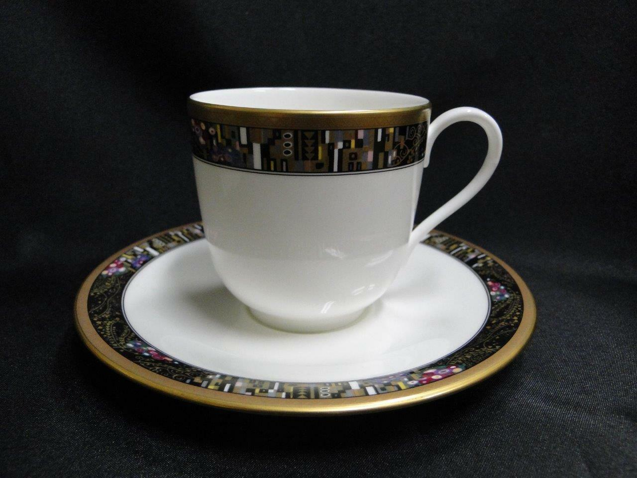 Mikasa Royal Glimmer CAG11,White w/ Black Multi,Gold Trim:Cup and Saucer Set (s)