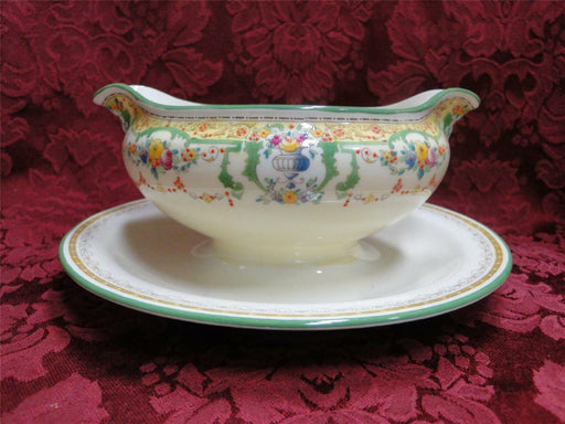 Royal Doulton The Melfont, Green Scrolls, Yellow Band: Gravy with Attached Plate