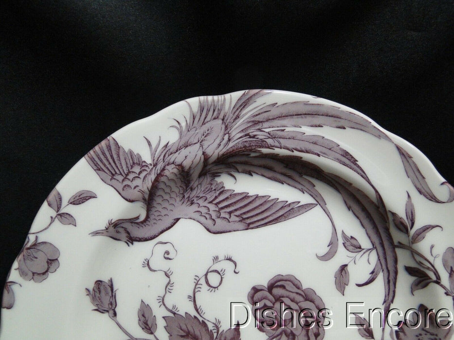 Spode Kingsley, Plum Florals & Bird on White, England: NEW Dinner Plate, 10 1/2""
