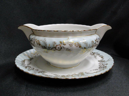 Royal Tettau Duchess Blue Green, Gold Flowers & Trim: Gravy Boat w/ Underplate