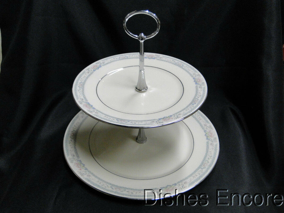 Lenox Charleston, Pastel Floral Band, Platinum: Two Tiered Serving Tray, 9 1/2""