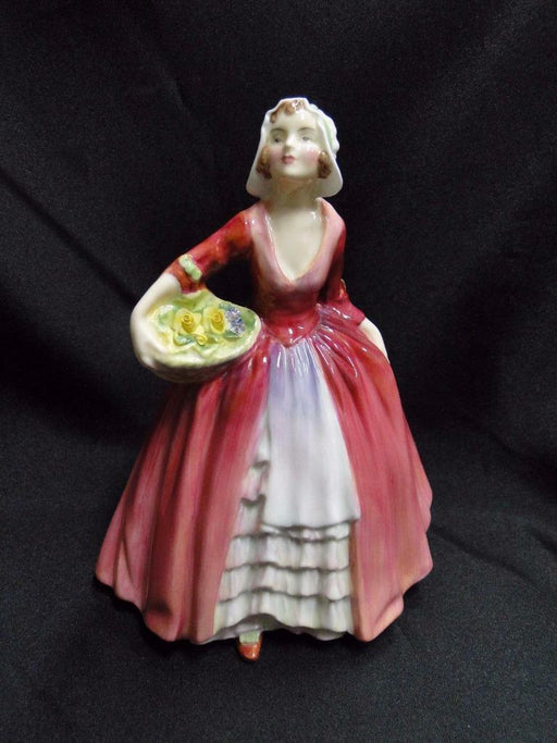 "Royal Doulton Figurine ""Janet"", HN1537, England, Red Dress, Basket, Flowers 6.5"""