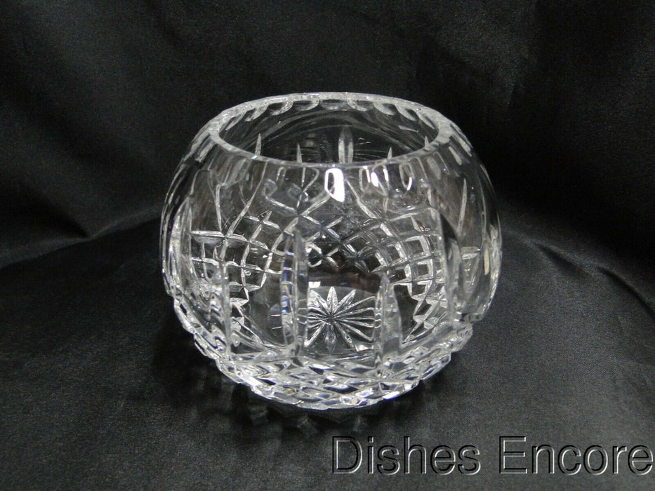 "Clear w/ Vertical & Cross Hatch Cuts, Thumbprint Edge: Rose Bowl, 4"" -  MG#170"