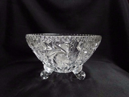 "3 Toed Cut Glass Bowl w/ Spinning Stars and Thumbprint Edge, 6 3/4"" - MG#102"