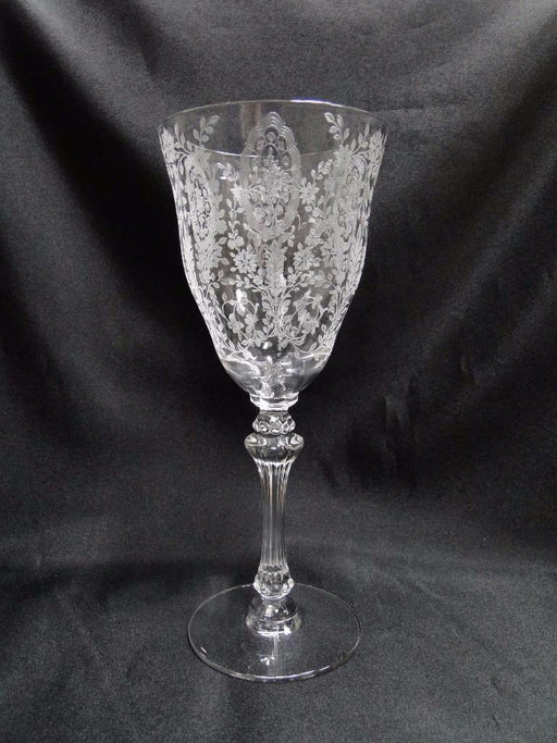 "Tiffin Love Lace, 17358, Clear, Etched, June Night: Water Goblet (s) 8 1/8"" Tall"
