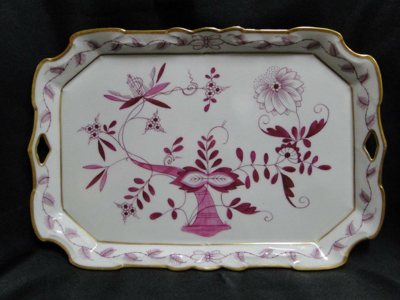 "Pink Onion Pattern & Gold Trim: Antique Tray with Handles 12 1/8"" x 8 1/4"""