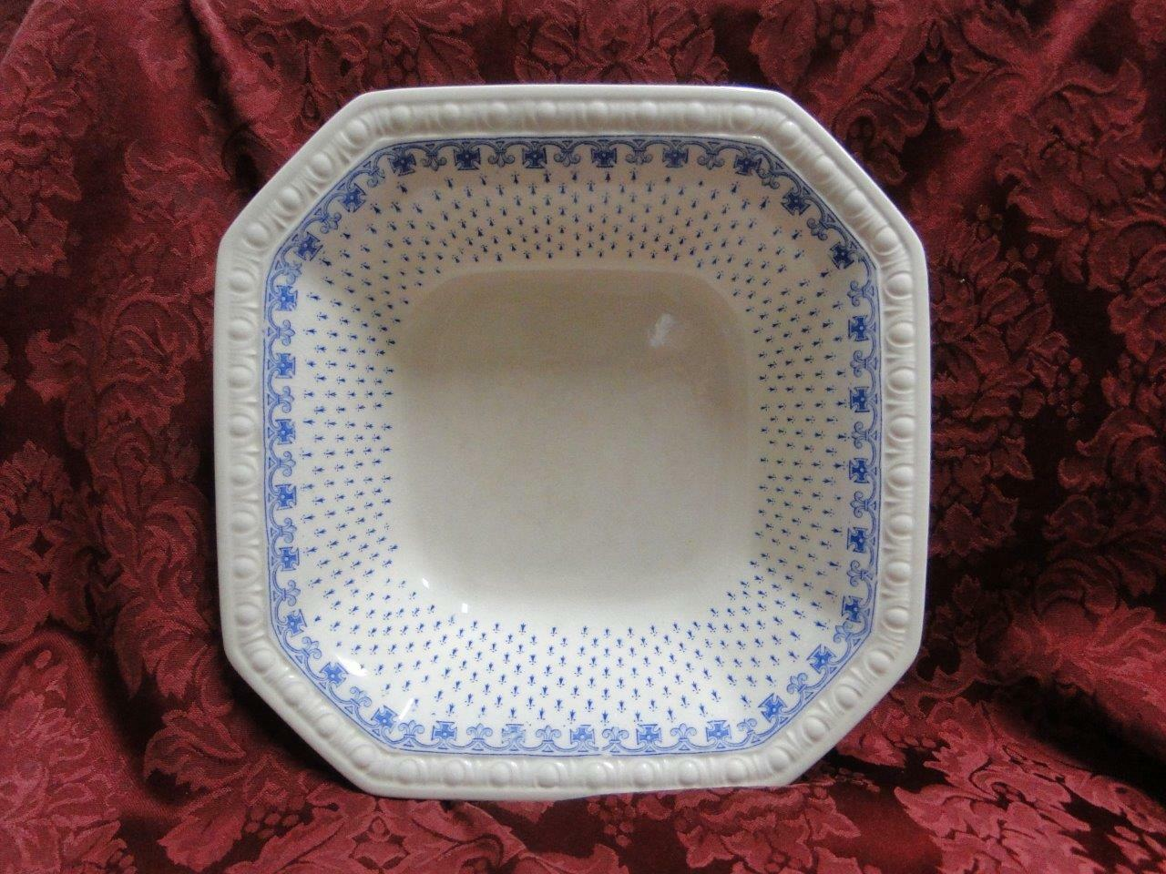 "Spode Ermine Blue, Geometric Design: Square Serving Bowl, 10"", Crazing, As Is"