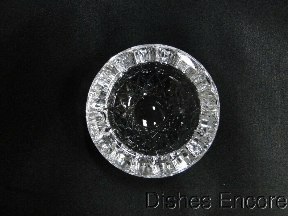 "Clear w/ Cut Circles & Diamonds: Round Two Slot Ashtray, 3 1/2"" x 1 1/2"", MG#171"