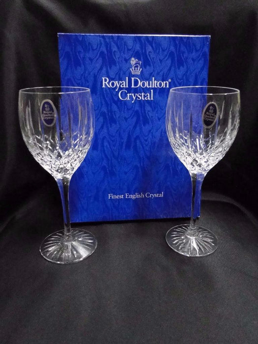 Royal Doulton Hampstead, Vertical & Criss Cross Cuts: Pair Water Goblets, Box
