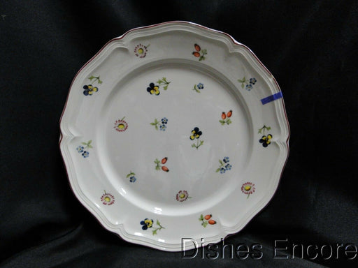 "Villeroy & Boch Petite Fleur, Small Flowers Red Trim:Luncheon Plate 9 5/8"" As Is"