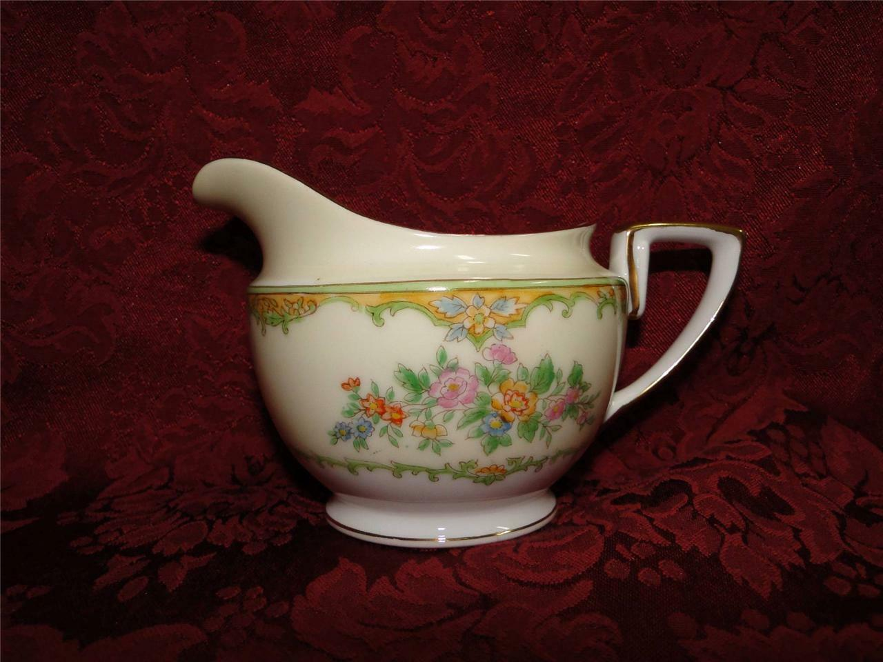 Noritake Multicolored Floral w/ Green & Tan Edge: Creamer / Cream Pitcher