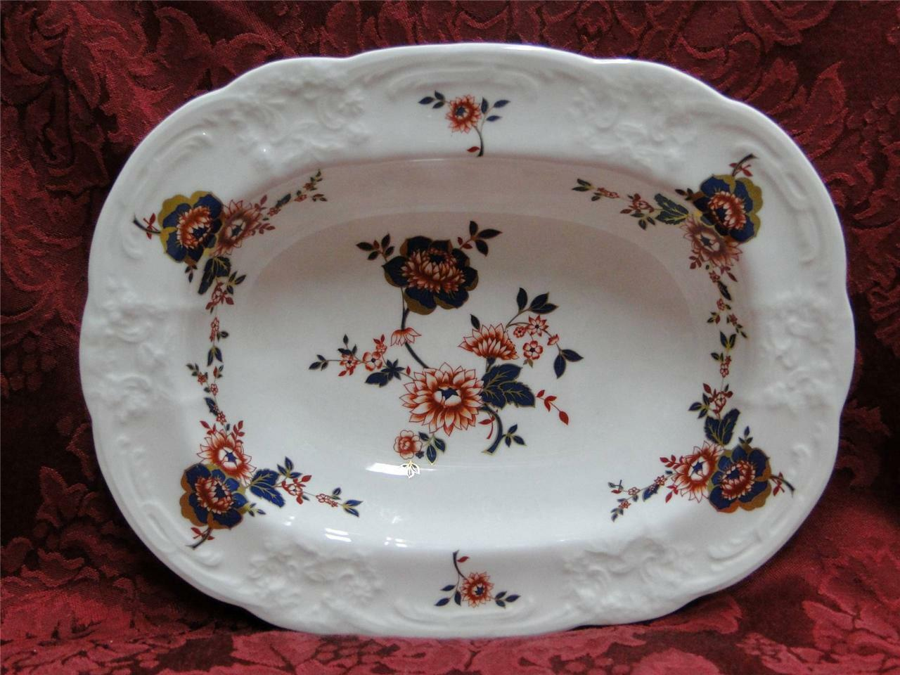Coalport St Louis, White with Blue,Rust,Gold: Oval Vegetable 9 3/8""