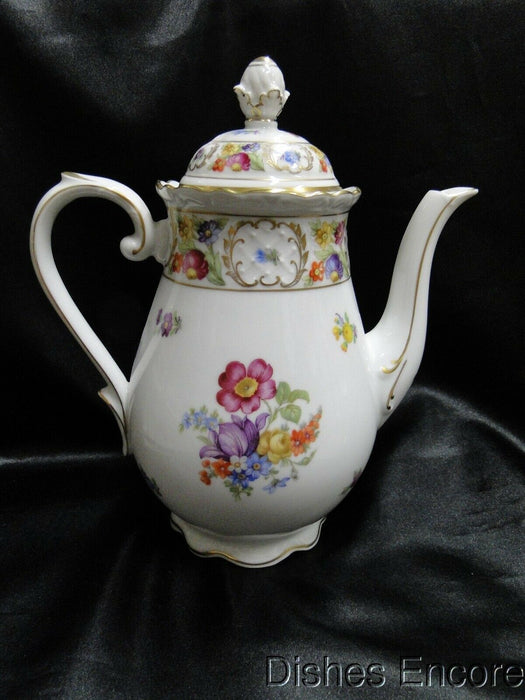 "Schumann Empress Dresden Flowers: Coffee Pot & Lid, 9 1/2"" Tall, As Is"
