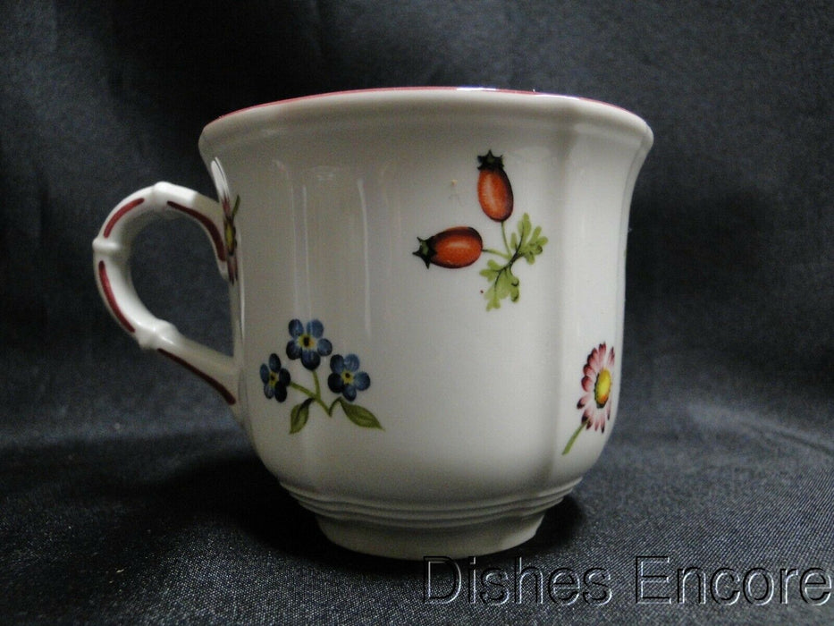 Villeroy & Boch Petite Fleur, Small Flowers, Red Trim: Cup & Saucer Set, 2 5/8""