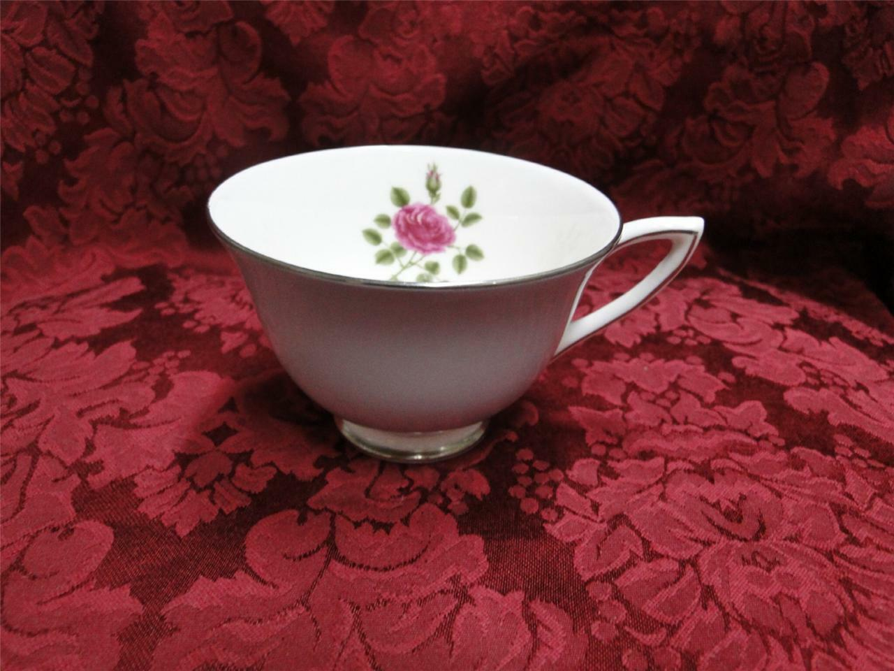 Royal Doulton Chateau Rose, Rose in Center, Gray Rim: Cup Only