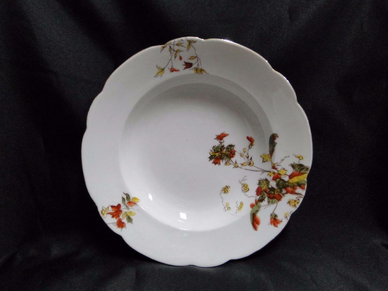 "Schwalb Brothers (BSM), Coral Flowers: Rim Soup Bowl (s), 8 1/2"", Gold Trim"