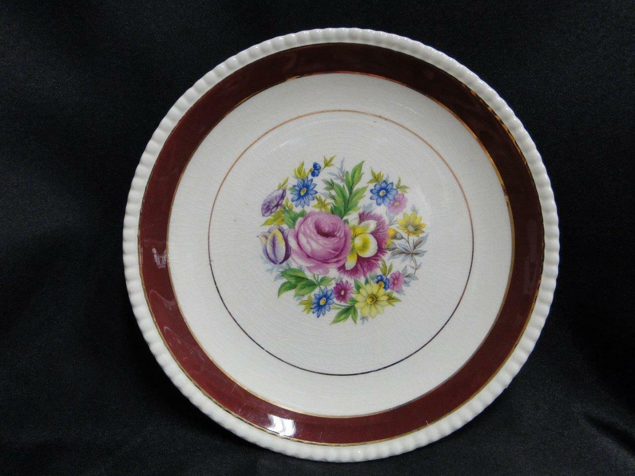 "Fondeville, England, FON1,  Floral Bouquet, Maroon Rim: Plate (s) 8 1/8"" AS IS"