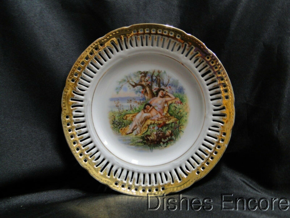 White Reticulated Plate w/ Scene of Mother and Child Sleeping, Gold Trim, 8 1/8""