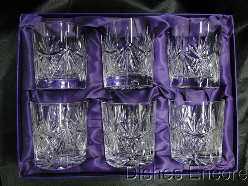 Edinburgh Crystal Ayr, Fan & Vertical Cut: Set of 6 Whiskey Glasses w/Box