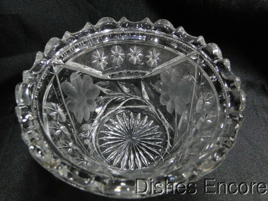 "Pressed Glass Bowl with Large Flowers and Small Stars AS IS, 5"" x 3 1/4""  MG#151"
