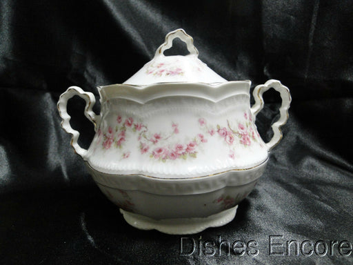 "Zeh, Scherzer & Co 508, Pink Rose Garland: Sugar Bowl & Lid, 5"" Tall -- As Is"