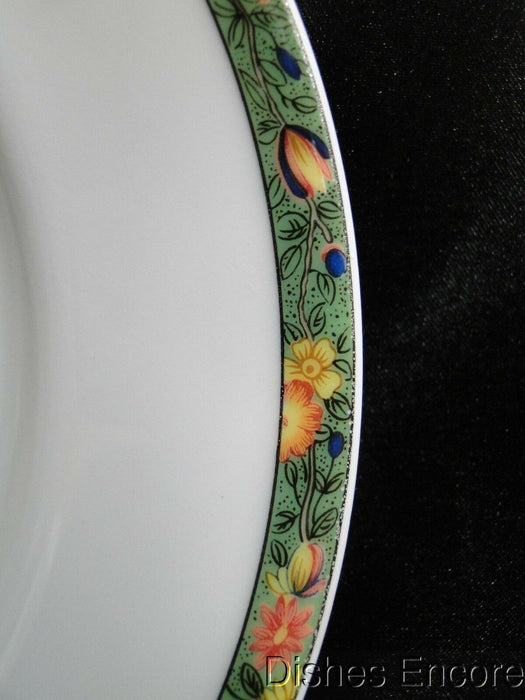 Raynaud Ceralene Louviers, Flowers, Green Band: Salad Plate (s), 7 5/8""
