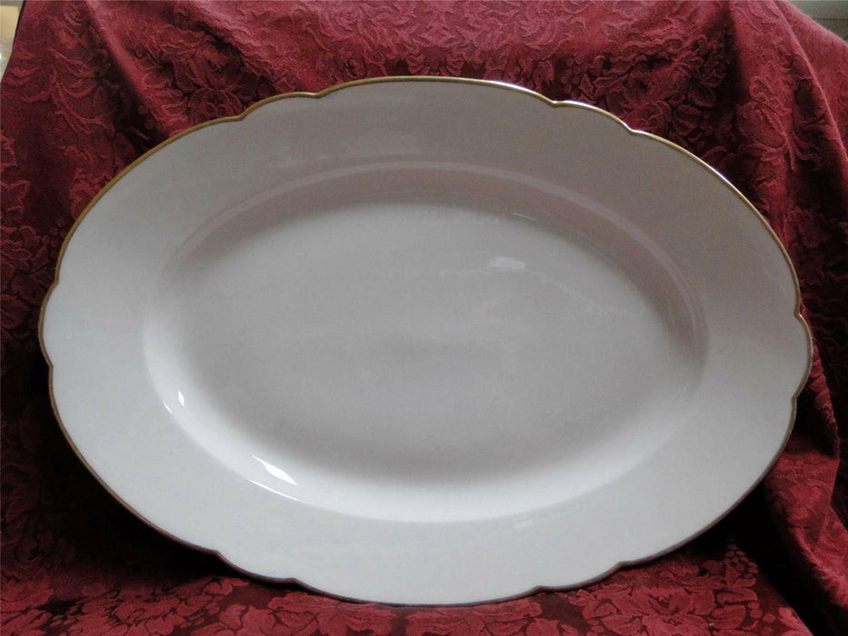 Redon, M (PL Limoges), White, Rim Shape, Thick Gold Trim: Serving Platter, 15.5""