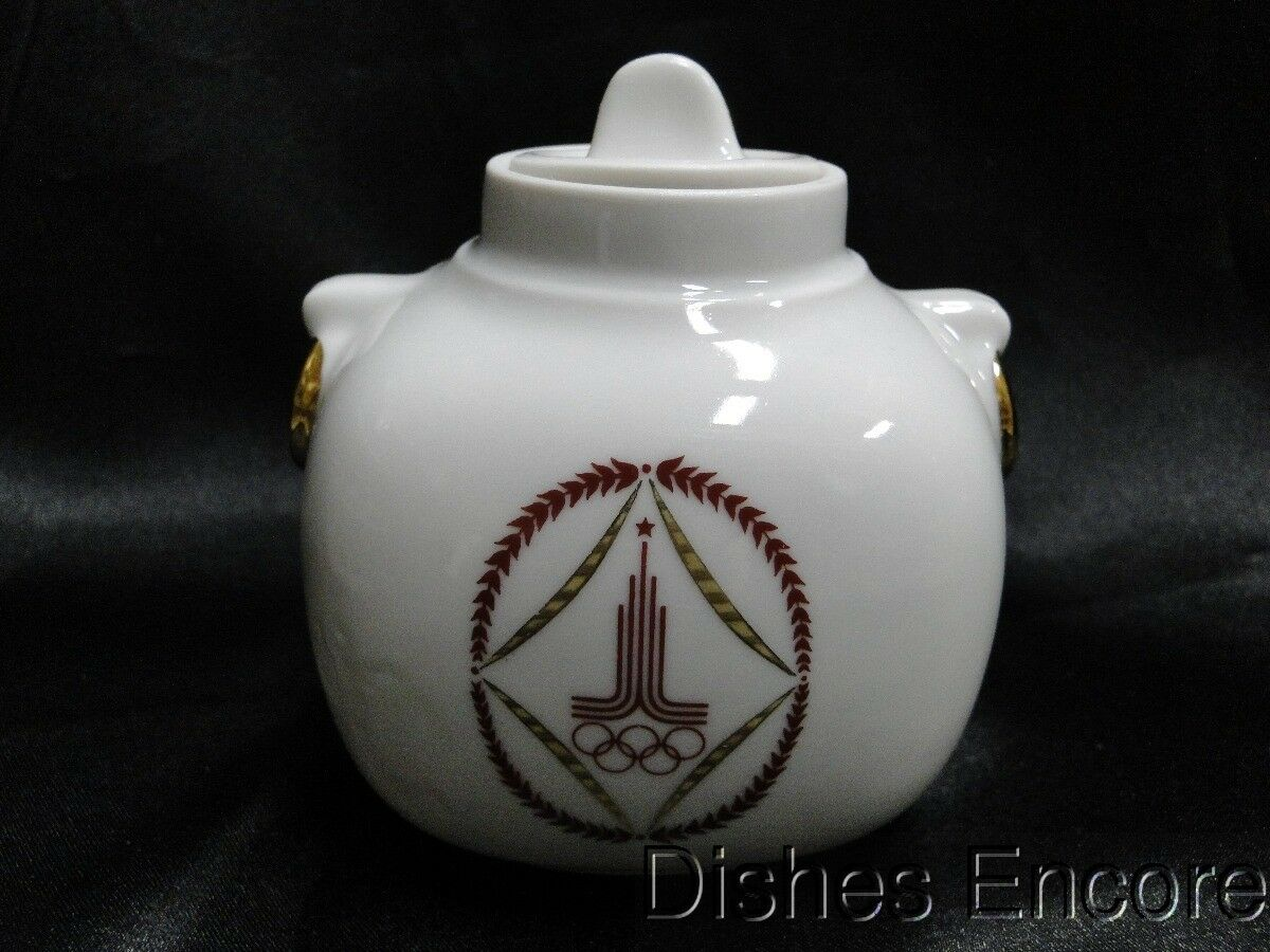 "Lomonosov Tea Caddy & Lid (may not be original lid) 3 1/2"" Olympic Games"