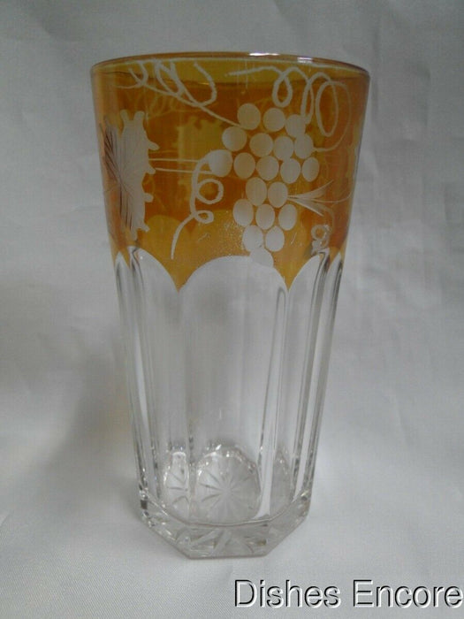 Clear Tumbler (France) Panels & Amber Iridescent Rim, Cut Grapes & Leaves 5 1/8""