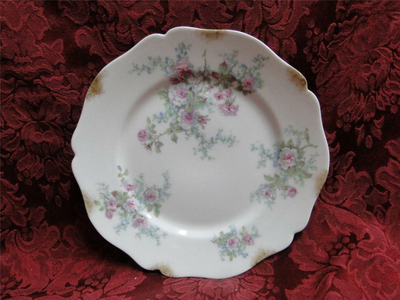 Wm Guerin Pink Roses w/ Blue & Green: Salad Plate (s) AS IS