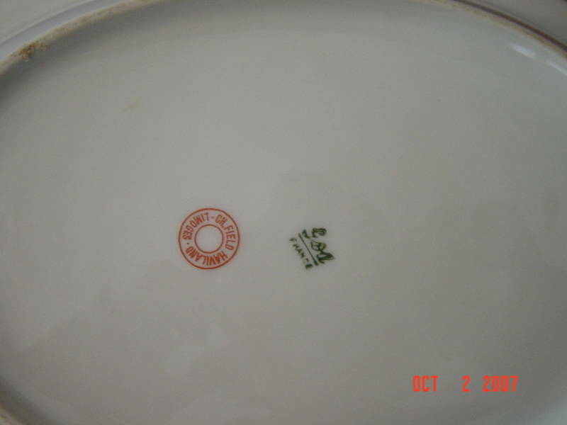 "Haviland (Limoges) Head 56 Pink Yellow Floral , CHF 189 Oval Serving Bowl 10"" x 7 1/4"""