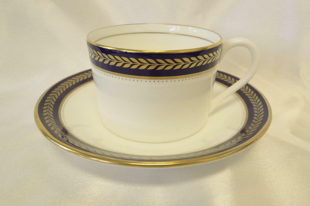 Coalport Blue Wheat, Bone, Gold Laurel on Cobalt Band: Flat Cup & Saucer Set (s)